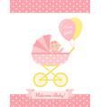 bashower girl card pink greeting postcard vector image vector image