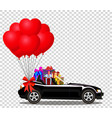 black cabriolet car with gifts and bunch of red vector image