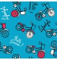 Blue pattern with bicycles vector image vector image