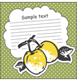 Card with quince and message cloud vector image