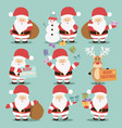 collection cute santa claus characters vector image