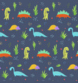 cute dark blue dinosaurs pattern for kids textile vector image vector image