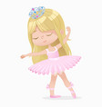 cute small brown hair girl ballerina dance vector image vector image
