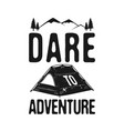 dare to adventure - camp explorer graphic for t vector image vector image