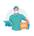 delivery men or courier in protective medical vector image vector image