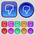Dislike icon sign A set of twelve vintage buttons vector image vector image
