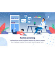 family evening routine and leisure banner vector image vector image