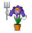 farmer iris flower character cartoon vector image