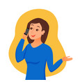 girl speaking using her smartphone holding in her vector image vector image