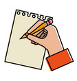 hand human with pencil writing in notebook vector image vector image