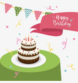 happy birthday party greeting card with cake and vector image