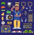 hip hop raper man musician icons vector image vector image