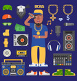 hip hop raper man musician icons with vector image vector image