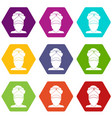 indian man icon set color hexahedron vector image vector image
