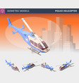 isometric police helicopter set police transport vector image