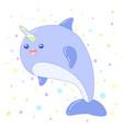 kawaii unicorn whale image design vector image