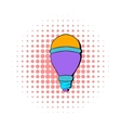 LED bulb icon comics style vector image vector image