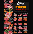 meat products butcher shop sausages price menu vector image vector image