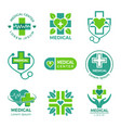 medical logotypes medicine pharmacy clinic or vector image vector image
