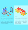 modern computer technology and school building vector image vector image