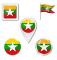 myanmar flag symbol myanmar vector image vector image