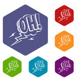 oh speech bubble icons set hexagon vector image vector image