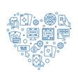 online poker heart concept thin line vector image vector image