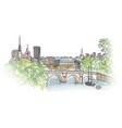 paris city seine riverback cityscape view spring vector image