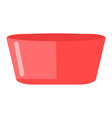 plastic basin icon cartoon red bowl vector image