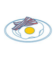 plate with egg and bacon icon vector image