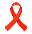 red ribbon symbol of aids awareness vector image