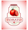 Ripe tomato on a juice or food product label vector image vector image