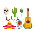 set traditional mexican decoration to event vector image