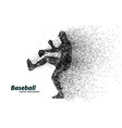 silhouette a baseball player from particle vector image vector image