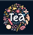 tea hand drawn floral pattern linear calligraphy vector image vector image