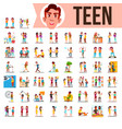 teen set lifestyle teenager situations vector image vector image