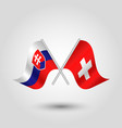 two crossed slovak and swiss flags vector image vector image