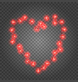 valentine s day red light bulbs garland holiday vector image