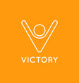victory logo man with hands up letter v vector image