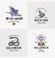 vintage style halloween logos or labels template vector image vector image