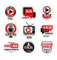 vlog and blog logo design set video blogging vector image