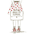 Back to school with girl vector image