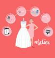 atelier woman occupation bridal business textile vector image