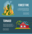 tornado and forest fire banners vector image