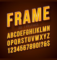 3d alphabet font with frame and shadow on vector image vector image