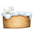A polar bear above the empty wooden signboard vector image vector image