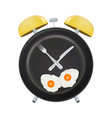 alarm clock face with a fork and spoon isolated on vector image
