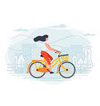banner template with girl on a bike vector image vector image