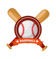 baseball ball bats crossed game sport emblem vector image