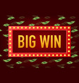 big win casino banner casino poker slot roulette vector image